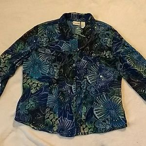 Chico's silk button down shirt with sequins.